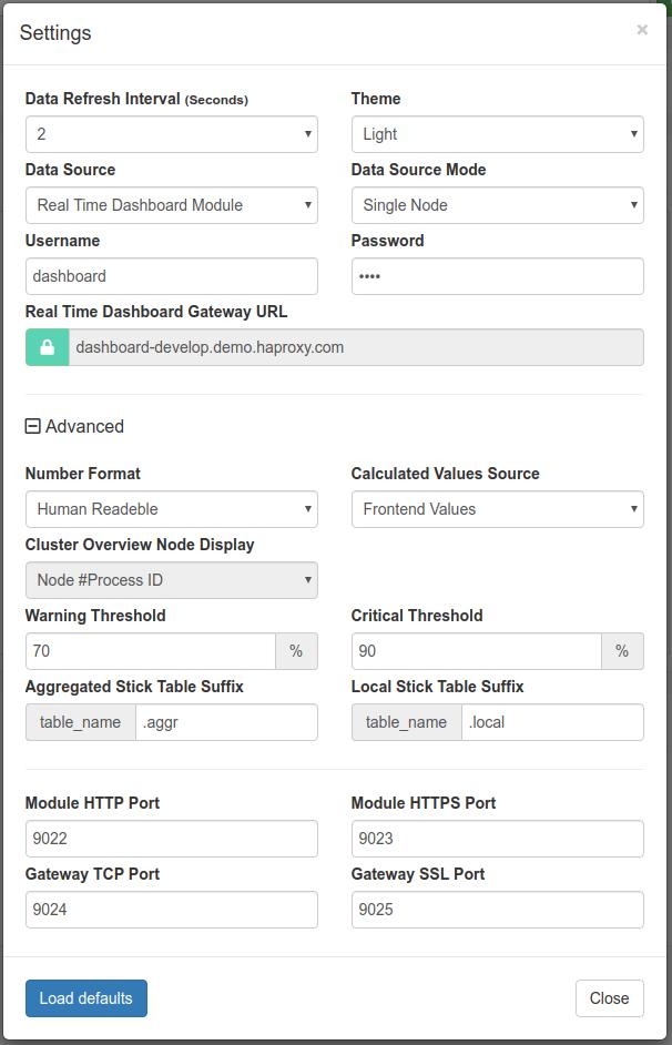 Real-Time Dashboard basic settings