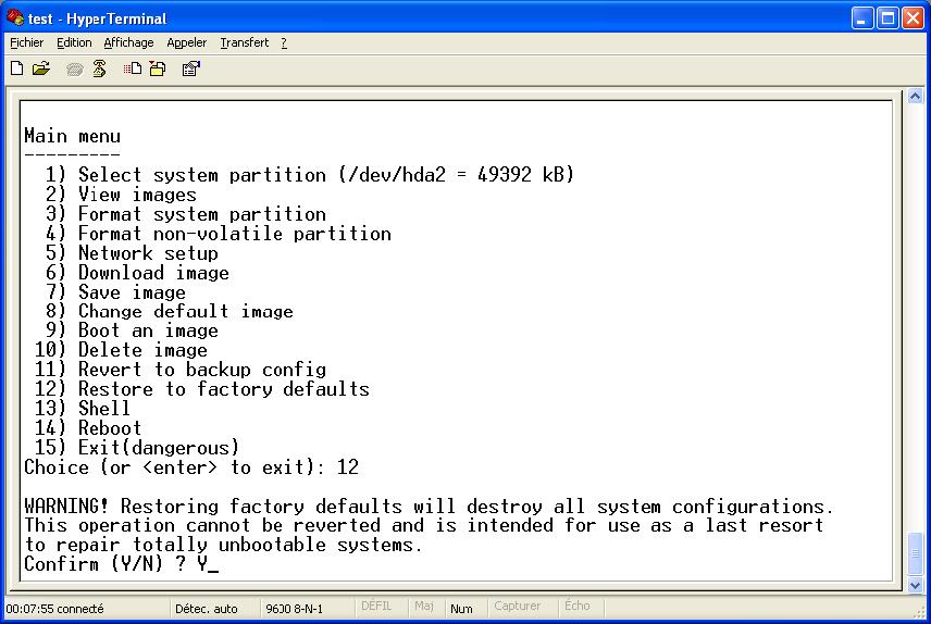AN-0031-EN – Restoring factory defaults in console mode