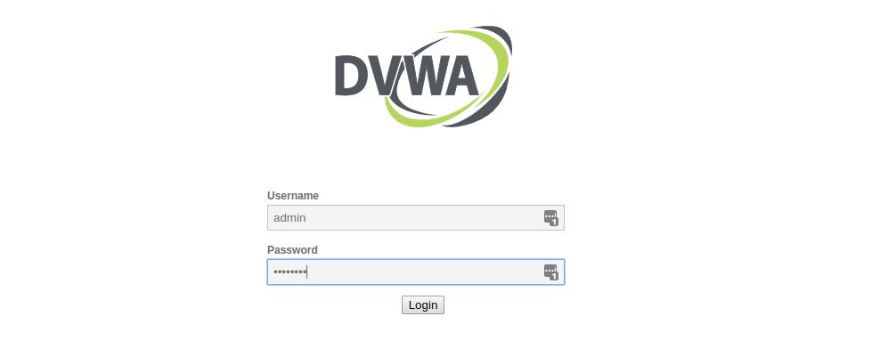 The DVWA login