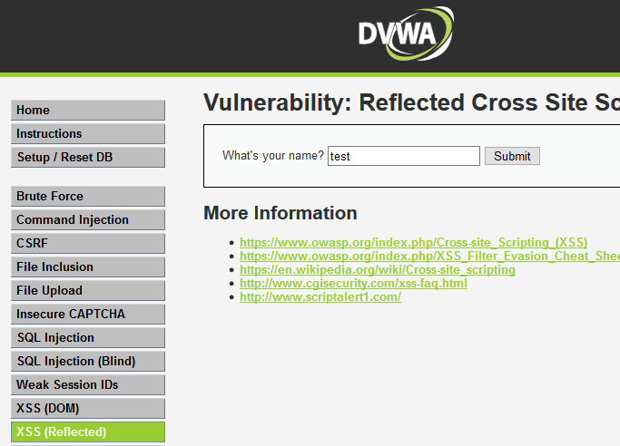 The DVWA website