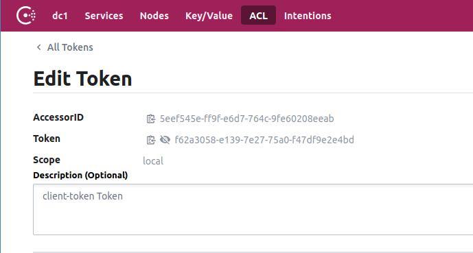 The Consul Edit Token screen shows our token value