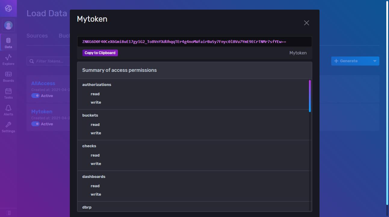 Retrieve token from InfluxDB