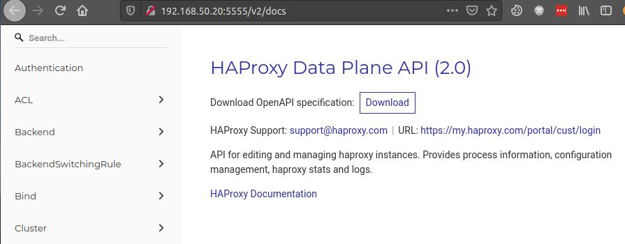 HAProxy Data Plane API docs
