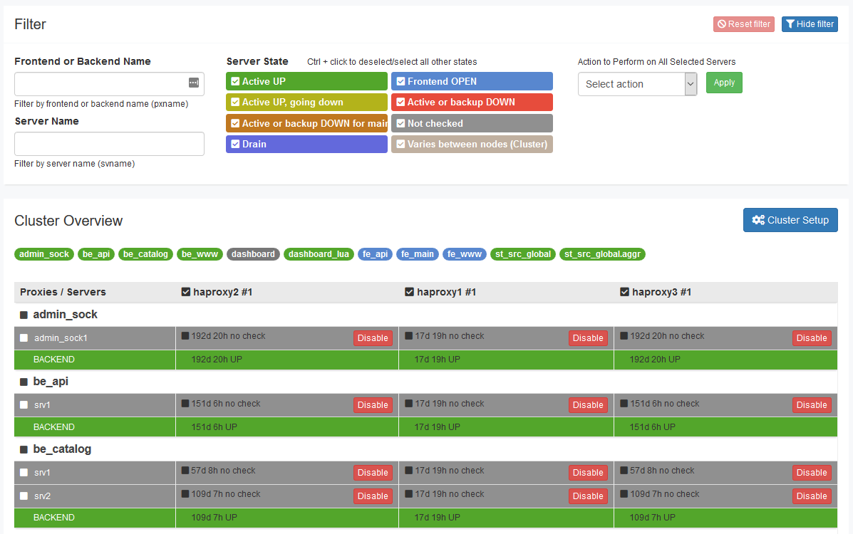 HAProxy Enterprise Real-time Dashboard